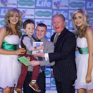 Press Eye - Belfast - Northern Ireland - Saturday 14th June 2013 - Sunday Life Spirit of Northern Ireland Awards. Julian Simmons, Paddy Barnes & Wee Oscar Knox