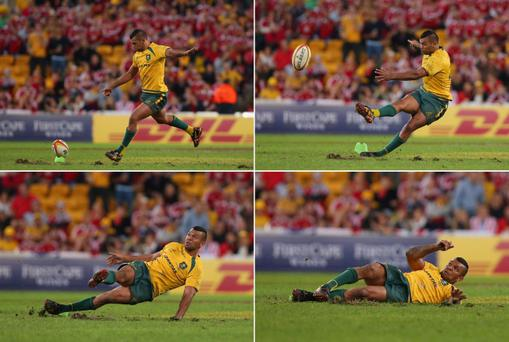 BRISBANE, AUSTRALIA - JUNE 22: Kurtley Beale of the Wallabies kicks for a penatly goal to win during the First Test match between the Australian Wallabies and the British & Irish Lions at Suncorp Stadium on June 22, 2013 in Brisbane, Australia. (Photo by Chris Hyde/Getty Images)