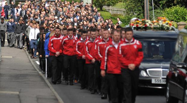 Guard of Honour: Local GAA Team at the funeral of Kevin Bell on Saturday