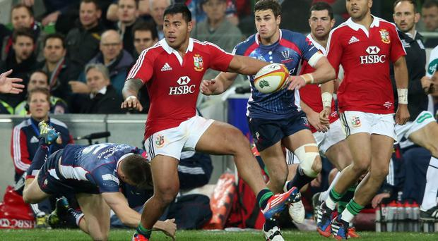 MELBOURNE, AUSTRALIA - JUNE 25: Manu Tuilagi of the Lions breaks with the ball during the International Tour Match between the Melbourne Rebels and the British & Irish Lions at AAMI Park on June 25, 2013 in Melbourne, Australia. (Photo by David Rogers/Getty Images)