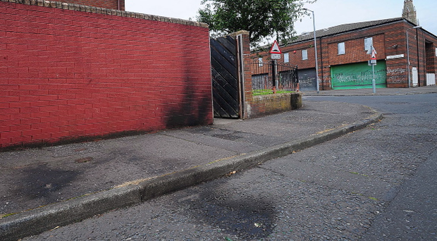 The scene at Short Strand in east Belfast after petrol bombs were thrown in the Bryson Street area