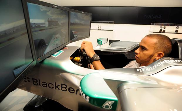 Lewis Hamilton during the launch of a in-store F1 simulator ahead of the British Grand Prix, at Selfridges in central London, Monday 25 June