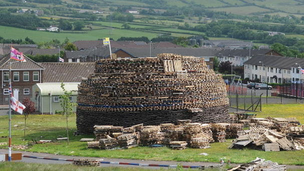 A bonfire in the Ballyduff estate in Newtownabbey during the run-up to the July 12 parades