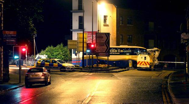 The scene at Harryville bridge in Ballymena where a cyclist died after colliding with a bus. Pic Kevin McAuley