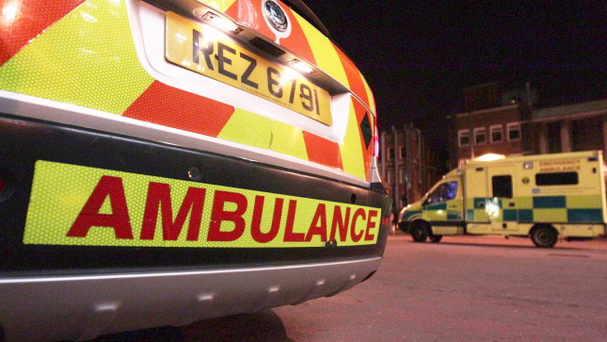 An ambulance crew was attacked with a firework in the early hours of Sunday morning