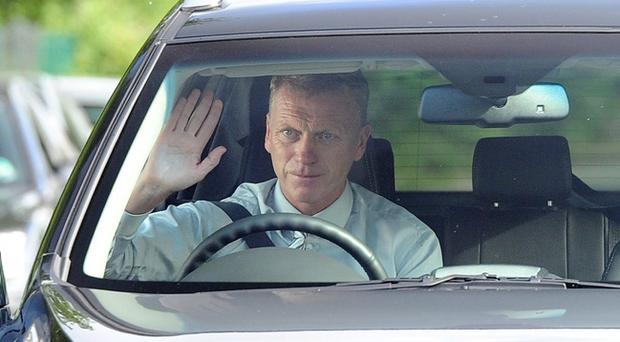 New Manchester United manager David Moyes arrives at the team Carrington training