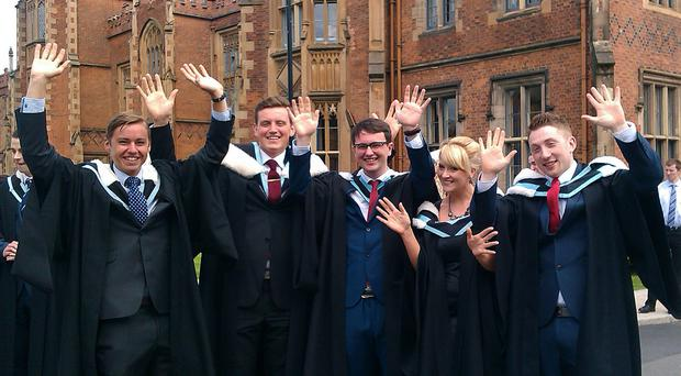 Politics, Philosophy and Economics students Ed Livingstone from Yeovil, Lillian Feehan from Newry, Turlagh Tinnelly from Newry, Clare Donnelly from Portadown and Conor Heaney from Belfast celebrate their graduation at Queen's University