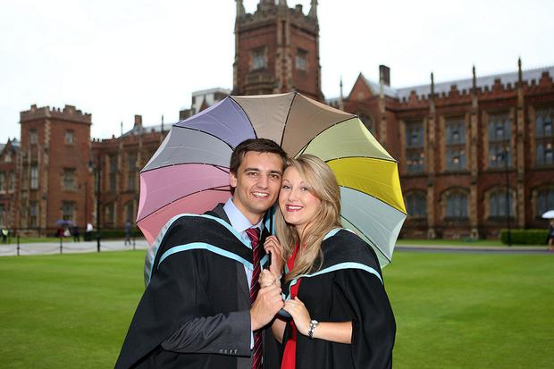 Amy Hunter from Newtownabbey and finace Andrew Shannon from Ballyclare celebrate their graduation at Queen's University. Amy graduates with a degree in Medicine and Andrew with a degree in Dental surgery. The couple have been together since they were pupils at Ballyclare High School and will get married in January 2014