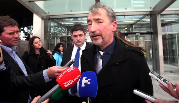 Eugene Moloney's brother Sean speaking to the media outside the criminal courts in Dublin after Gary Burch was sentenced to five and a half years. Niall Carson/PA