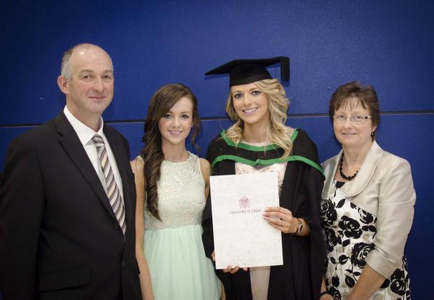 Rachel McConnell, graduated with a BSc in Consumer Studies, with mum and dad Avril and Raymond, and sister Sarah