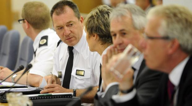 Chief Constable Matt Baggott at the policing board meeting in Belfast. Pic Colm Lenaghan/Pacemaker