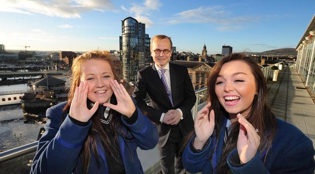 The legal services sector has grown thanks to the arrival to Belfast of firms such as Allen & Overy, Herbert Smith Freehills and Axiom. Would-be lawyers from Ashfield Girls' School in Belfast recently visited Allen & Overy in Belfast to learn about the critical and communication skills used by lawyers. Chelsea Doherty (left) and Amy Buchanan were joined by Anrew Brammer during their visit