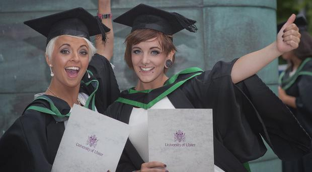 Elena Harvey from Castlederg and Paula Teague from Dromore, Co Tyrone both graduated with BSc Hons in Communications with PR