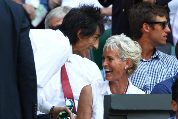 LONDON, ENGLAND - JULY 07: Ronnie Wood speaks with Judy Murray before the Gentlemen's Singles Final match between Andy Murray of Great Britain and Novak Djokovic of Serbia on day thirteen of the Wimbledon Lawn Tennis Championships at the All England Lawn Tennis and Croquet Club on July 7, 2013 in London, England. (Photo by Clive Brunskill/Getty Images)