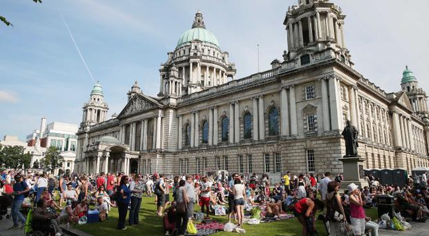Crowds watching the Wimbledon final at Belfast City Hall . Picture by Kelvin Boyes / Press Eye