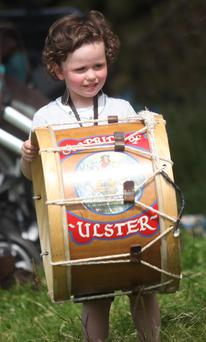 Enjoying the small Lambeg at the Braid District Parade held in Carnlough Co Antrim.PICTURE STEVEN MCAULEY/KEVIN MCAULEY PHOTOGRAPHY MULTIMEDIA