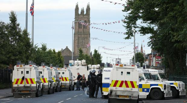 PSNI officers on the Lower Newtownards Road in July
