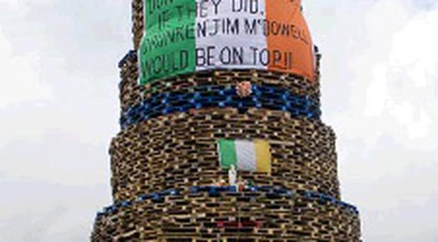 Bonfire on Shankill Road 2012