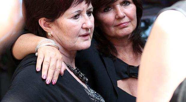 Denise and Maureen Nolan at the funeral of Bernie Nolan at the Grand Theatre in Blackpool.Well-wishers lined the streets of Bernie Nolan's hometown as her family and friends said goodbye to the actress and singer who died of cancer earlier this month. Lynne Cameron/PA Wire
