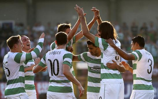 Celtic's Georgios Samaras celebrates scoring against Cliftonville during Wednesday night's Champions League, 2nd qualifying round, 1st leg game at Solitude