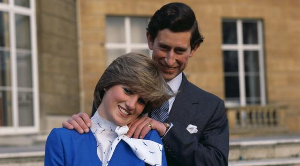 24th February 1981: (FILE PHOTO) Charles, Prince of Wales laughing with his fiancee Lady Diana Spencer (1961 - 1997) outside Buckingham Palace, London after announcing their engagement. It was announced by Clarence House on November 16, 2010 that Prince William will marry girlfriend Kate Middleton in the Spring / Summer of 2011. (Photo by Hulton Archive/Getty Images)...E