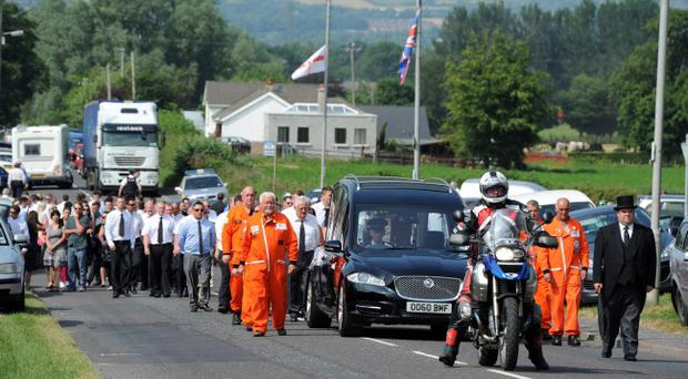 18/7/2013. Pacemaker Belfast. The funeral of road racer Bruce Moulds is carried from his family home in Culcavy, Hillsborough this afternoon. Bruce lost his life at the Walderstown road races at the weekend, aged only 20. Picture Charles McQuillan/Pacemaker.