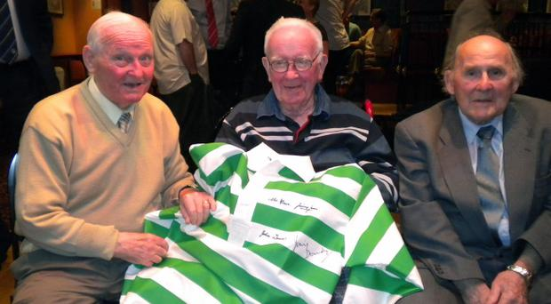 Former Belfast Celtic players Gerry Burrell, Jackie Denver and Jimmy Jones at Windsor Park