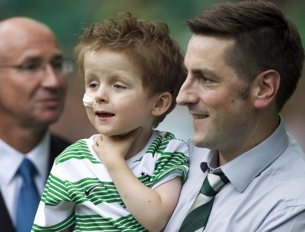 Mascot Oscar Knox during Tuesday evenings Celtic v Cliftonville Champions League, 2nd qualifying round, 2nd leg match at Parkhead, Glasgow Scotland