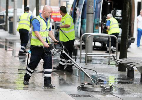 Belfast City Council cleans the pavements in and around the city centre after complaints about the grim streets. Photo-Jonathan Porter/Presseye.