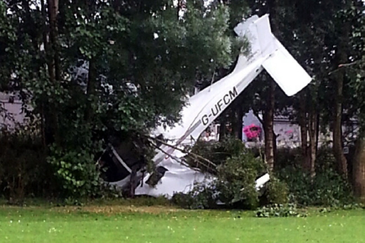 The light aircraft crash landed at a playing field in Newtownards on Thursday evening