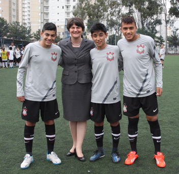 Tourism Minister Arlene Foster has announced that the Brazilian football club Corinthians Paulista are to participate in this year's Milk Cup. Pictured: Bruno Marcelo; Tourism Minister Arlene Foster; Leonardo Lima and Fabricio Rodrigues