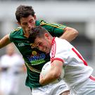 Meath's Donal Keogan and Darren McCurry of Tyrone