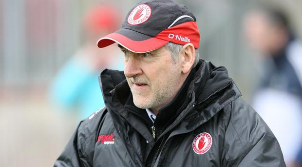 Tyrone manager Mickey Harte pictured during his team's match against Monaghan
