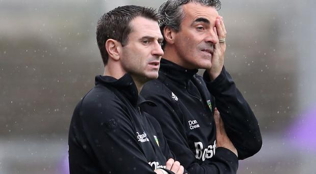 Donegal selector Rory Gallagher and manager Jim McGuinness during the game against Mayo