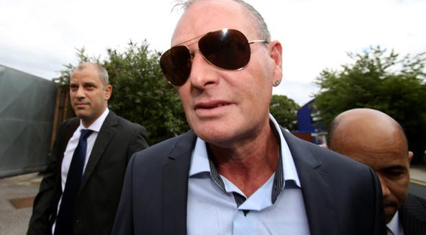Paul Gascoigne arrives at Stevenage Magistrates Court in Stevenage, Hertfordshire, where he is charged with two counts of common assault following an incident at Stevenage railway station on July 4