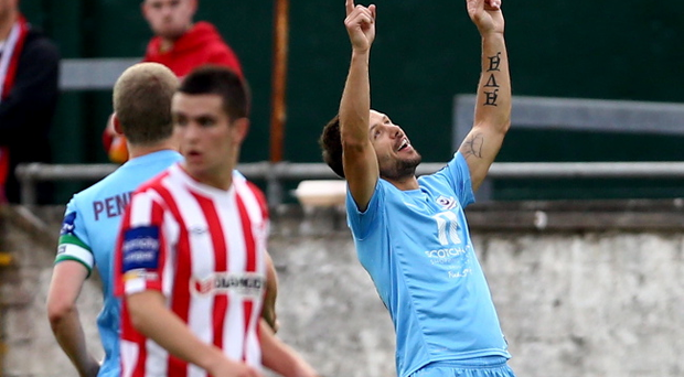 Drogheda United's Declan O'Brein celebrates scoring against Drogheda United during Monday nights semi-finals of the EA Sports Cup at the Brandywell. Photo-William Cherry/Presseye
