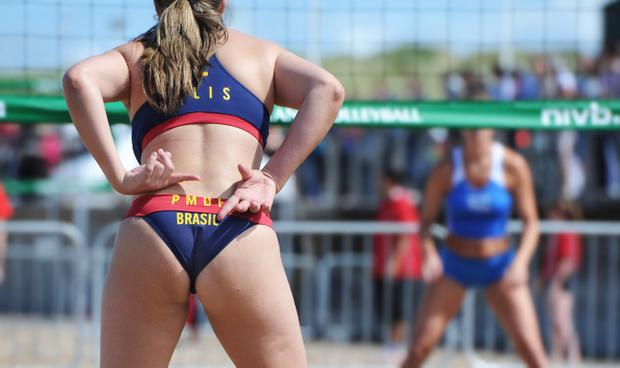 Brazil versus Spain during the World Police and Fire Games' Beach Volleyball event at Portrush's East Strand. Picture Charles McQuillan/Pacemaker