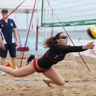 Competitors take part in the Ladies Beach Volley Ball at East Strand, Portrush, Co Antrim