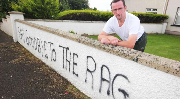 Coleraine Borough Councillor George Duddy at his home which had graffiti sprayed on the wall in the early hours of Sunday morning. He also had a union flag stolen. Photo by Mark Jamieson