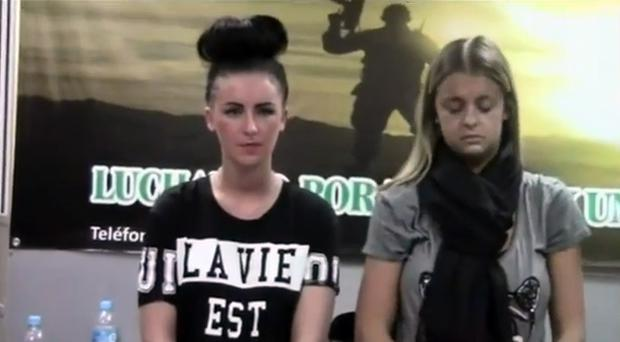 Michaella McCollum Connolly (left) and friend Melissa Reid in the airport after they were arrested