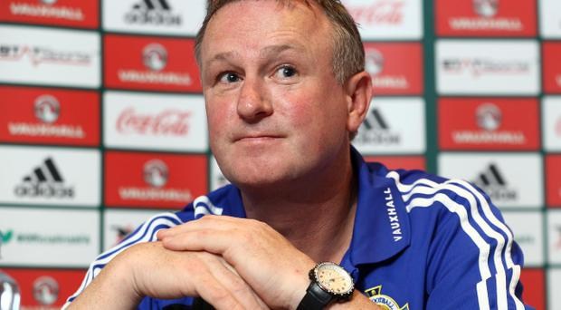 Northern Ireland manager Michael O'Neill during Tuesday's press conference ahead of Wednesdays 2014 FIFA World Cup Qualifier against Russia at Windsor Park. Photo-William Cherry/Presseye