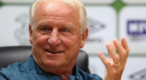 CARDIFF, WALES - AUGUST 13: Giovanni Trapattoni, manager of Ireland speaks during a press conference at the Cardiff City Stadium on August 13, 2013 in Cardiff, Wales. (Photo by Michael Steele/Getty Images)
