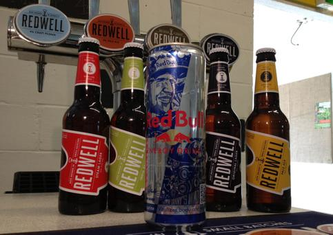 Image from Redwell Brewing of a selection of Redwell beers with a can of Redbull as the independent brewery set up by a group of friends has been threatened with legal action by energy drink manufacturer Red Bull because of the similarity of its name.