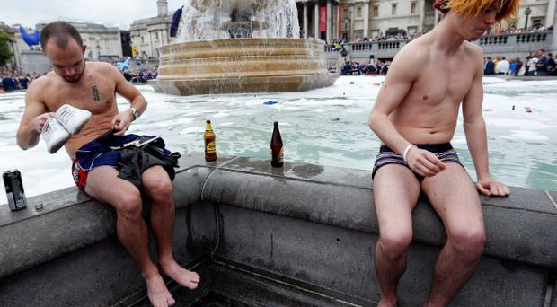 Scottish football fans gather in Trafalgar Square, London, ahead of an international friendly match between England and Scotland at Wembley. Jonathan Brady/PA Wire