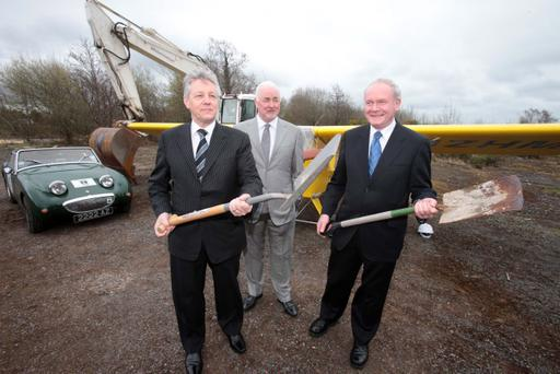 Peter Robinson, Martin McGuinness and Terence Brannigan (The Maze/Long Kesh Development Corporation chairman) at the launch of the plan for the redevelopment of the site in April