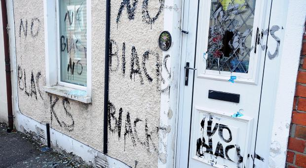 Racist graffiti was scrawled on a house in the Wayland Street area of east Belfast