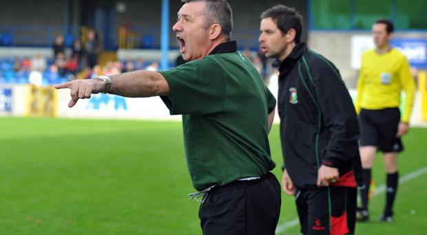 Glentoran manager Eddie Patterson pictured during his side's game against Glenavon