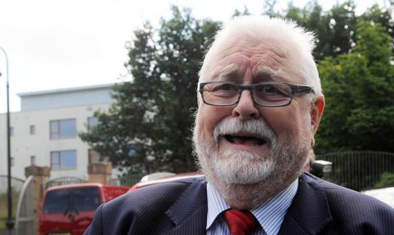 Lord Maginnis leaves Dungannon court house on Monday after being found guilty of assaulting a man in a road rage incident