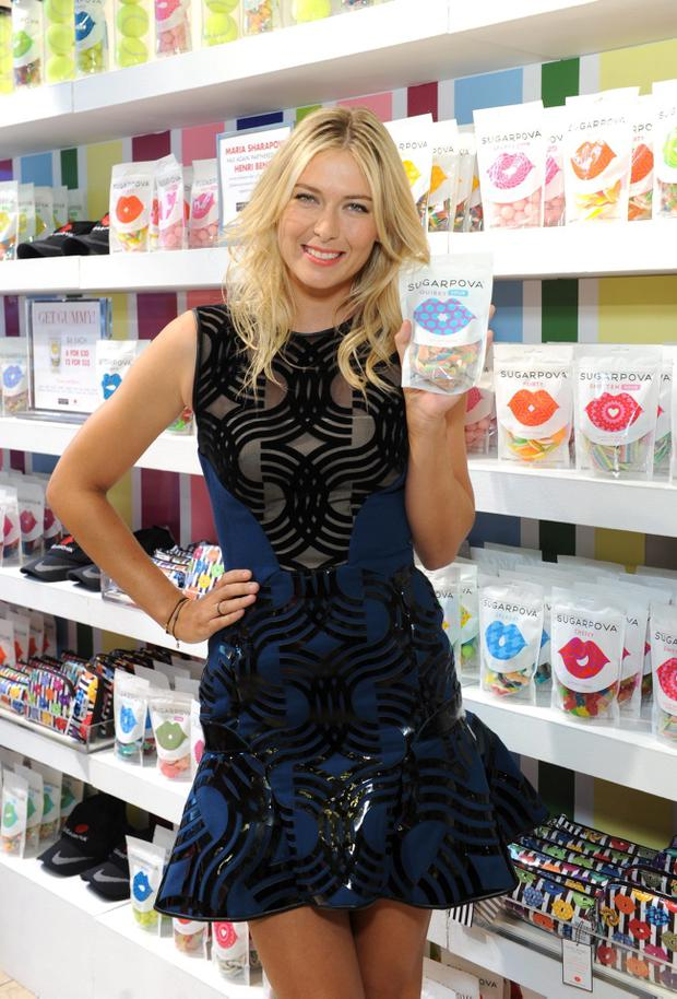 NEW YORK, NY - AUGUST 20: International tennis sensation Maria Sharapova celebrates the one year anniversary of Sugarpova by launching