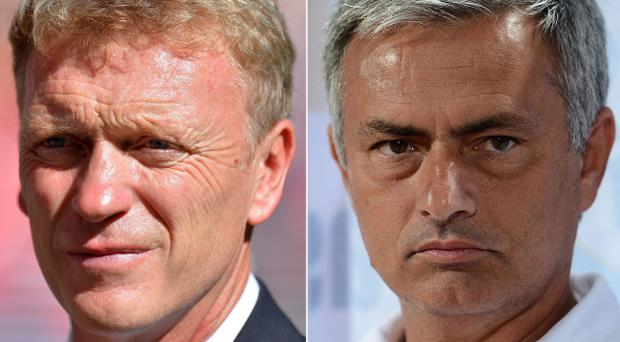 David Moyes (left) will be hoping his Manchester United team can get the better of Jose Mourinho's Chelsea